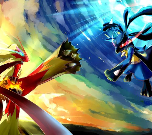 Blaziken and Lucario