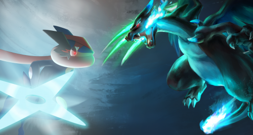 Greninja and Mega Charizard x