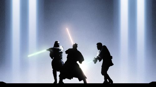 Qui gon jinn, obi wan,and darth maul battle